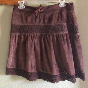 bcbgmaxazria Brown Pull-on P/L Velvet/Lace Skirt